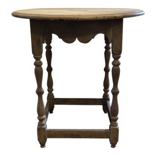 French Country Hand Painted and Distressed Round Side Table For Sale