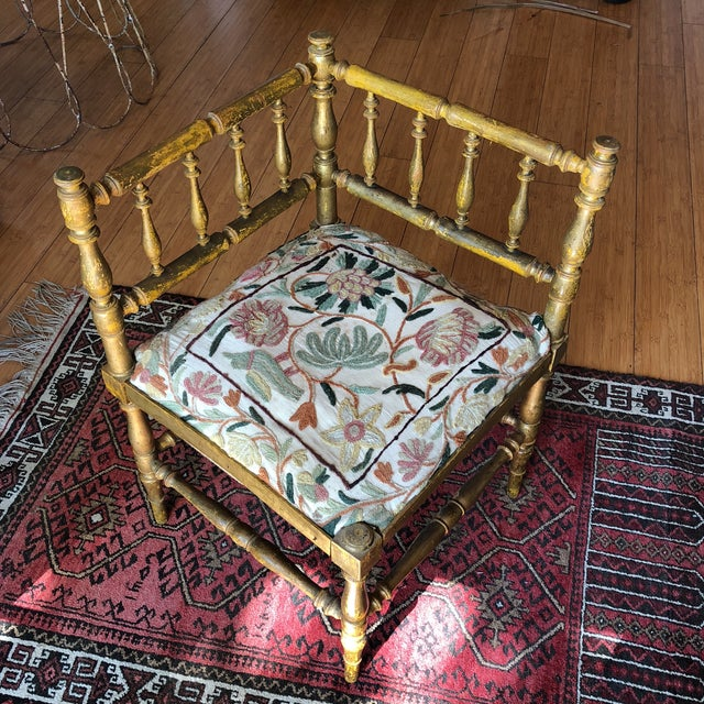 Antique Embroidered Corner Accent Chair - Image 11 of 11