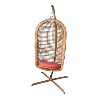 1970s Boho Chic Rattan Hanging Chair and Stand