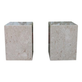 Vintage Marble Pair of Cube Pedestals