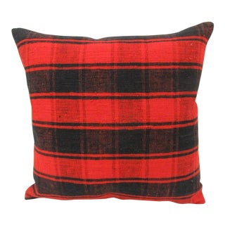 Vintage Red and Black Turkish Kilim Pillow Cover For Sale