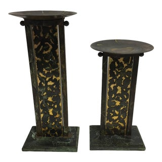 Evans Designs Rustic Candle Stands - A Pair For Sale