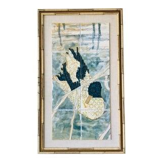 1950s Chinoiserie Harris Strong Framed Tile Art For Sale