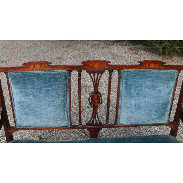 Wood Edwardian Inlaid Mahogany Settee With Blue Upholstery, Needs Restoration For Sale - Image 7 of 8