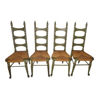 """Vintage Mid-Century French Country """"Tell City"""" Green Chairs- Set of 4 For Sale"""