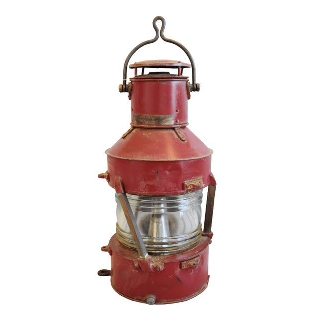 English Large Red Antique English Maritime Ship's Lantern For Sale - Image 3 of 8
