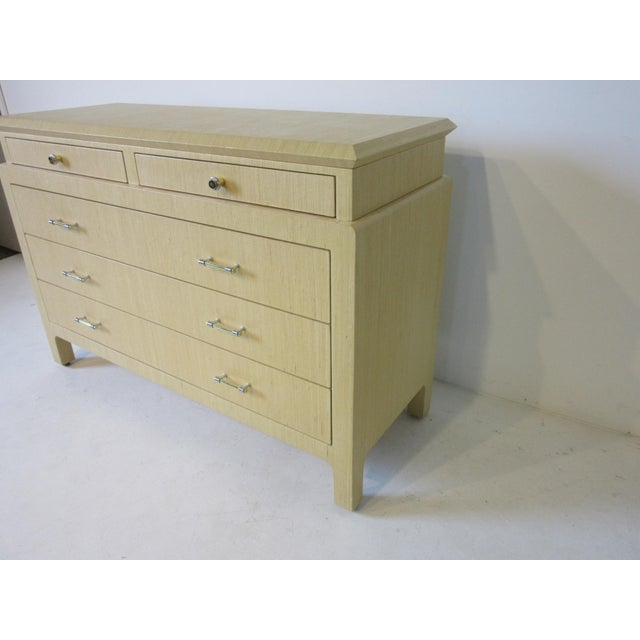 Linen Wrapped Chest or Dresser Chest For Sale - Image 4 of 10