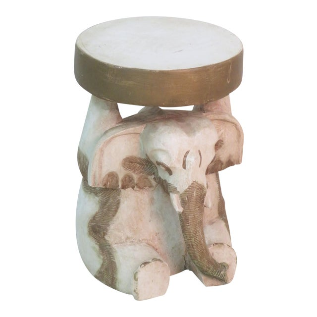 Elephant Carved Wood Garden Stool For Sale