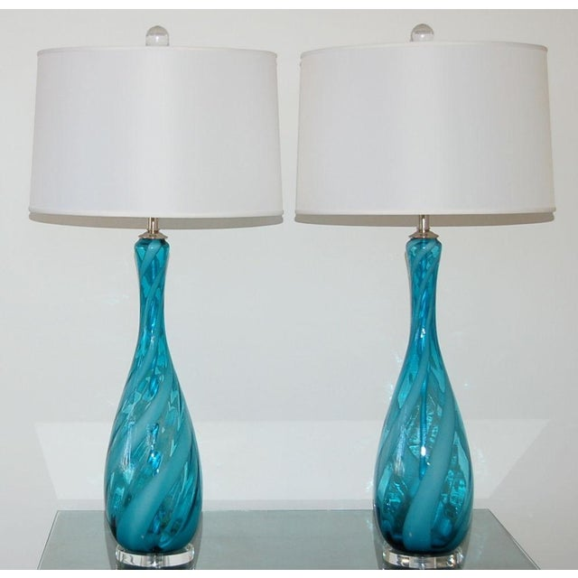 Contemporary Vintage Venetian Glass Table Lamps Blue White For Sale - Image 3 of 7