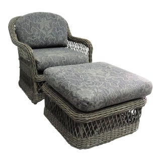 Late 20th Century Walters Wicker Inc. Club Chair & Ottoman-A Pair For Sale
