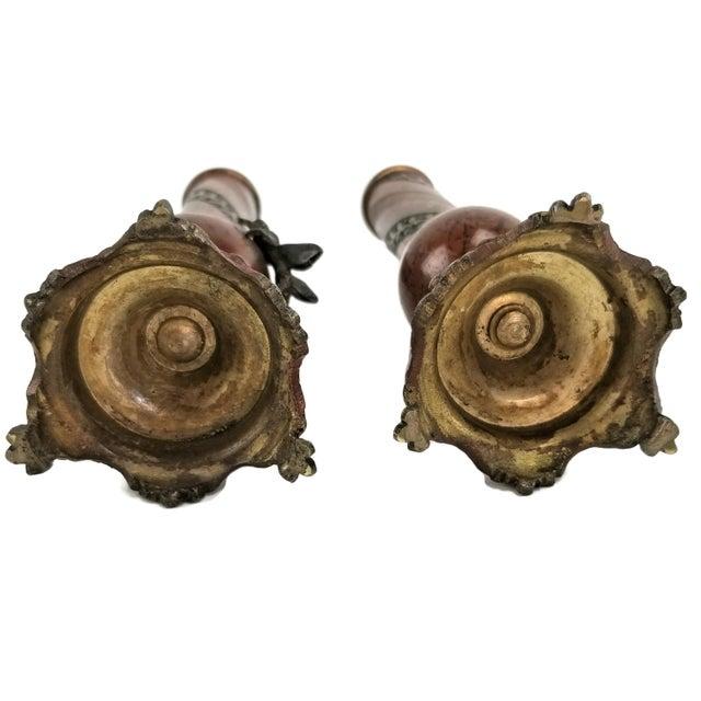 Pair of French Champlevé Bud Vases - Enamel Gilt Bronze Brass Bud Vases For Sale - Image 9 of 13