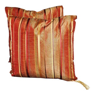 Taffeta and Silk Striped Pillows - A Pair For Sale
