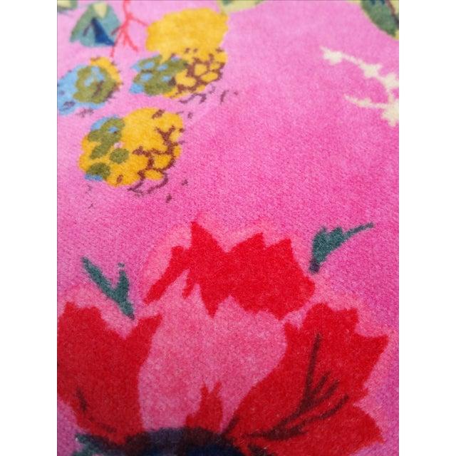 Pink Floral Cotton Velvet Pillows - A Pair - Image 4 of 5