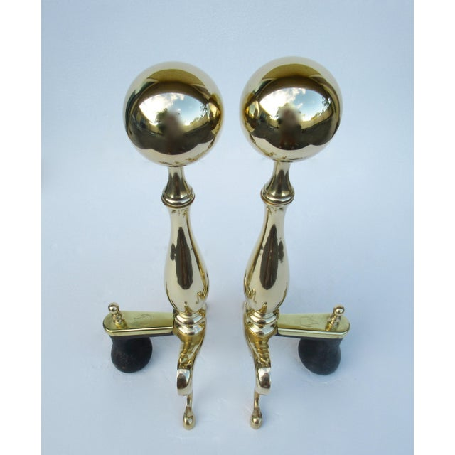 Brass C1970s Vintage American Regency Brass Claw-Footed Andirons - a Pair For Sale - Image 7 of 13