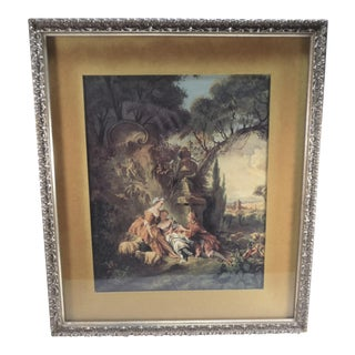 "Vintage French ""Relaxing in the Garden With Sheep"" Framed Fragonard Print For Sale"