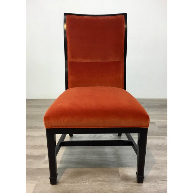 Original Retail $6400, stylish Henredon Modern Orange Velvet Dining Chairs Set of Four, black lacquer wood frames,...