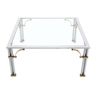 Brass Chrome Glass Top Square Coffee Table For Sale