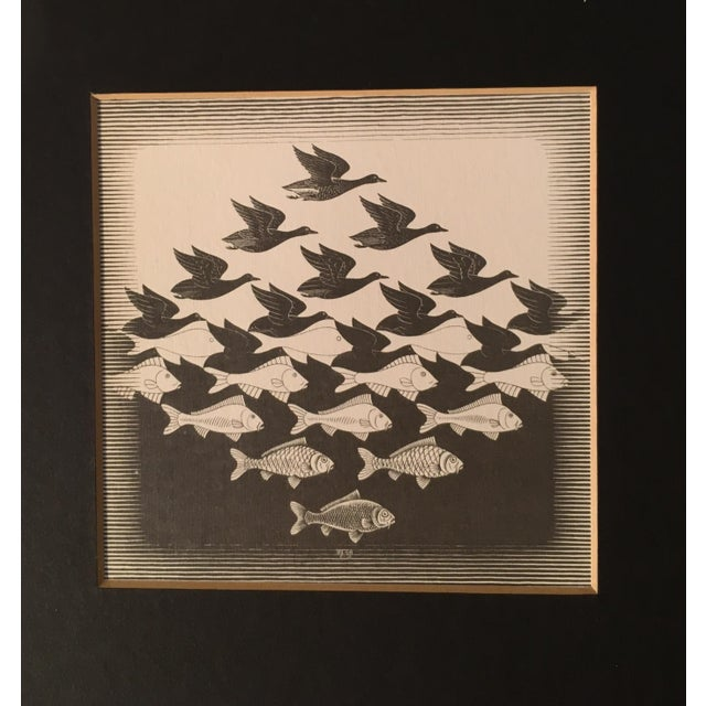20th Century Surrealist Framed M. C. Escher Sky and Water Print For Sale In Chicago - Image 6 of 7