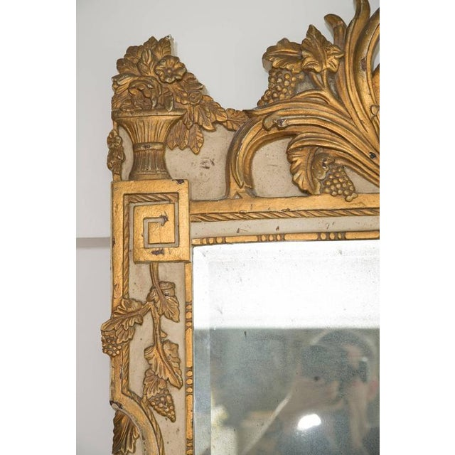 Glass 20th Century Louis XVI Style Parcel Gilt and Cream Painted Wall Mirror For Sale - Image 7 of 8