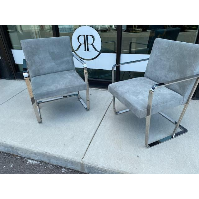 Pair of Vintage Chrome Chairs, Newly Recovered in Hide For Sale - Image 10 of 11