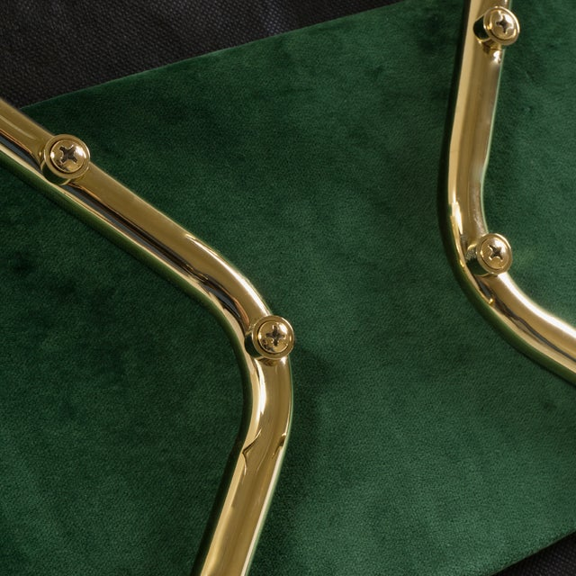 Green Original Vintage Saarinen Executive Arm Chairs Restored in Emerald Velvet, Custom 24k Gold Edition - Set of 6 For Sale - Image 8 of 9