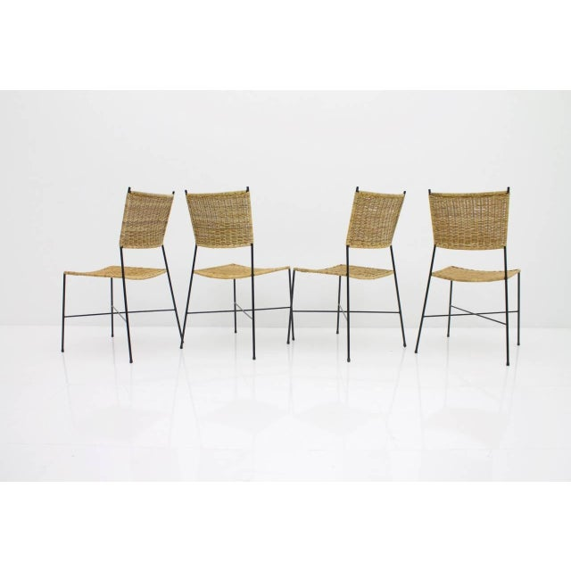 Set of Four Dining Room Chairs in Wicker and Metal, Germany, 1960s For Sale - Image 4 of 12