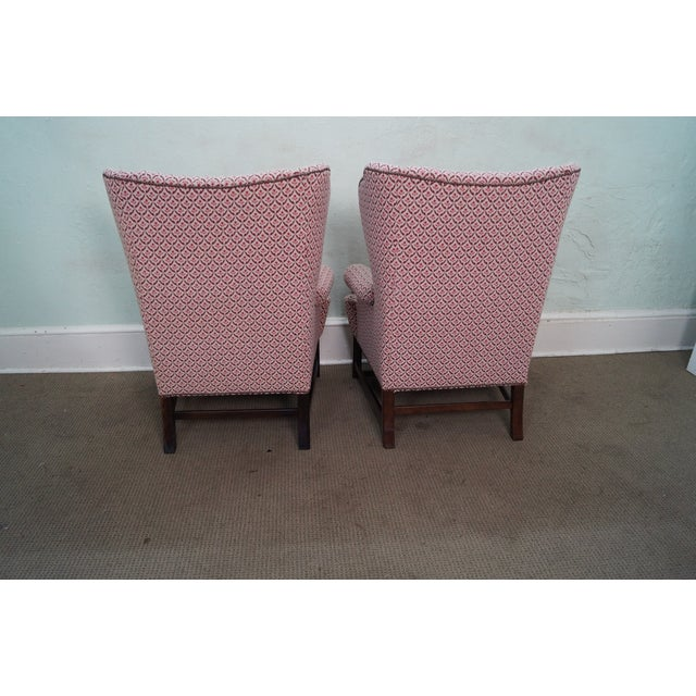 Baker Chippendale Style Wing Chairs - A Pair - Image 3 of 10