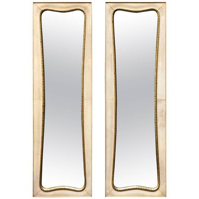 Gold Pair of Large Italian Wall Mirrors, 1950s For Sale - Image 8 of 8