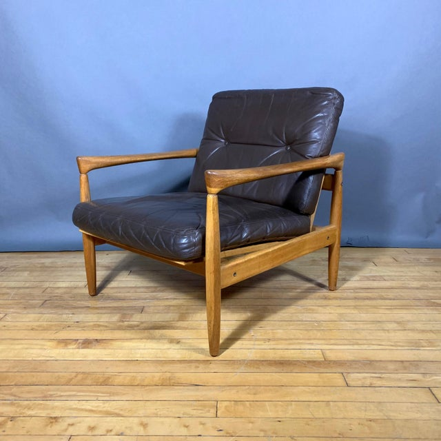 Wood Pair Erik Wørts Solid Oak & Leather Lounge Chairs, Sweden 1960s For Sale - Image 7 of 12