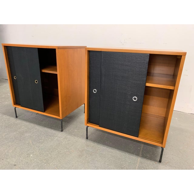Mid-Century Modern Paul McCobb Planner Group Maple Sliding Door Cabinets For Sale - Image 3 of 10