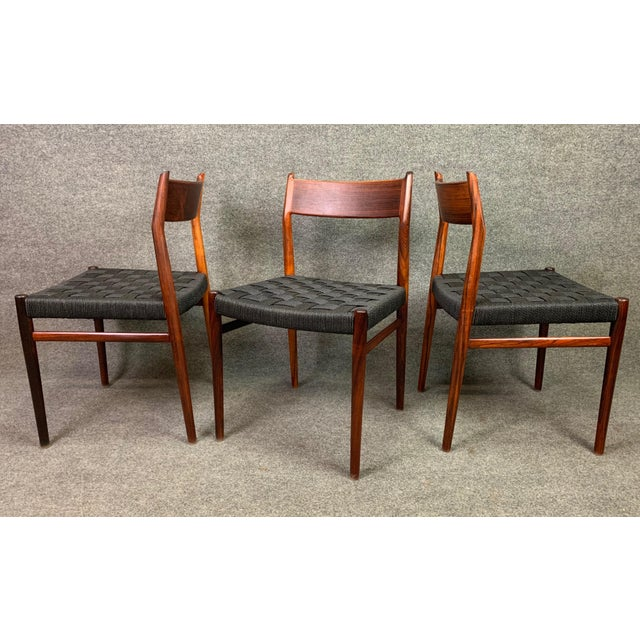Set of Six Vintage Mid Century Danish Modern Rosewood Dining Chairs Model #418 by Arne Vodder for Sibast For Sale - Image 10 of 12