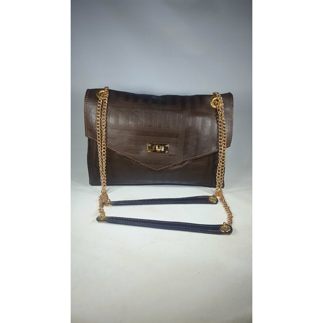 2020s Handcrafted Brown Envelope Embossed Leather Crossbody/ Double Handle Handbag For Sale - Image 5 of 5