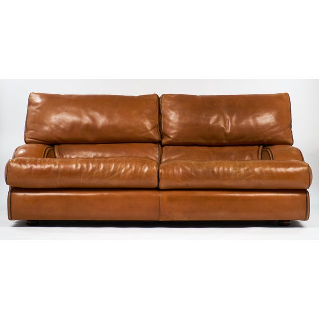 Exceptional tan buffalo leather sofa by the most respected Italian brand of leather modern sofas and armchairs! With...