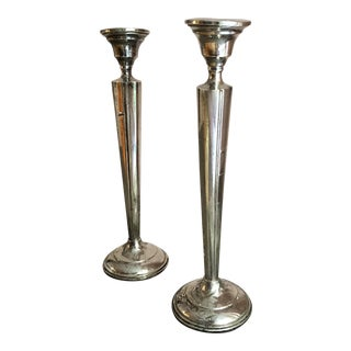 Vintage Sterling Column Candlesticks - A Pair