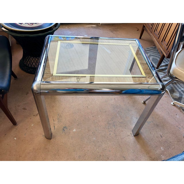 Mid 20th Century Vintage Chrome Glass Top Side Table For Sale - Image 5 of 5