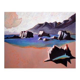 """""""Mono Lake"""" Contemporary Abstract Landscape Oil Painting For Sale"""