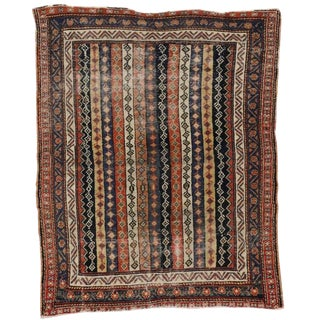 Early 20th Century Antique Persian Bakhtiari Distressed Rug - 4′1″ × 5′1″ For Sale