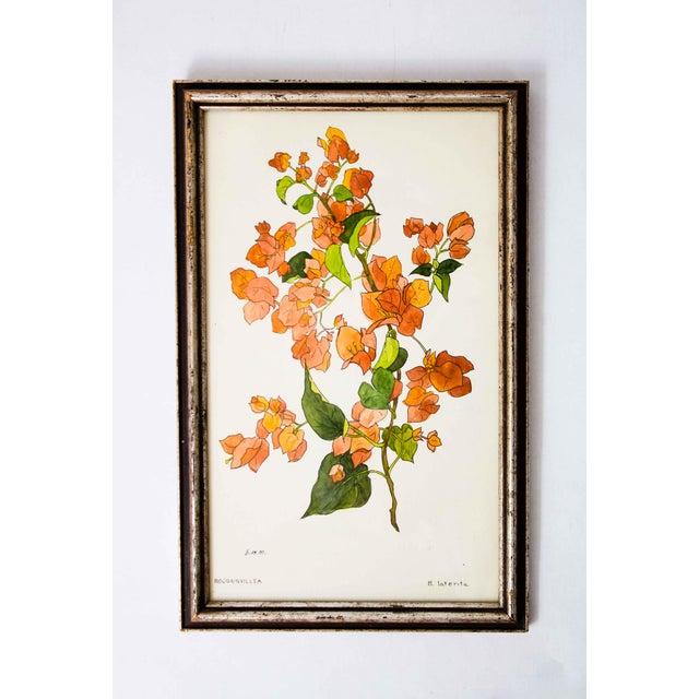 American Vintage Floral Watercolor Painting For Sale - Image 3 of 3