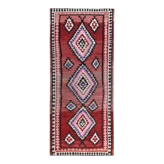 Turkish Kilim Runner Rug With Red, Pink and White Diamond Pattern For Sale
