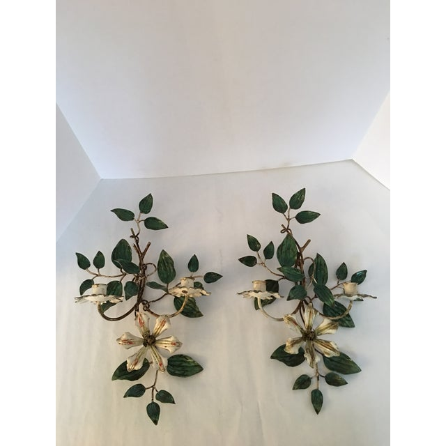 Vintage Italian Flower Candle Sconces - A Pair - Image 2 of 6