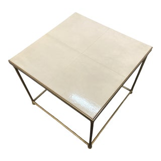 Century Furniture Contemporary Ivory Colored End Table For Sale