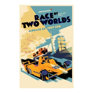 Danish Modern Car Racing Poster, Race of Two Worlds For Sale