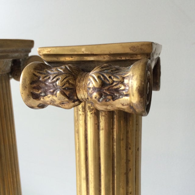 Brass Column Candleholders - Set of 3 For Sale - Image 4 of 7