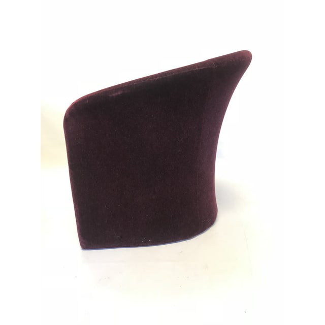 1980s Dark Plum Mohair Club Chairs by Massimo Vignelli For Sale - Image 5 of 10