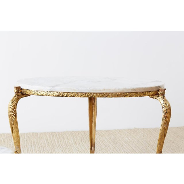 Mid 20th Century Nest of Italian Doré Bronze and Marble Drink Tables For Sale - Image 5 of 13