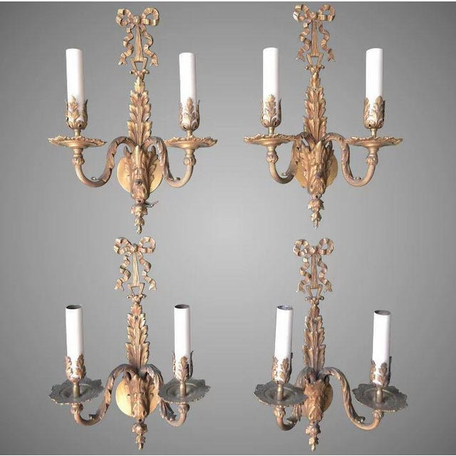 French Louis XVI Dore Bronze Wall Sconces - Set of 4 For Sale - Image 11 of 11