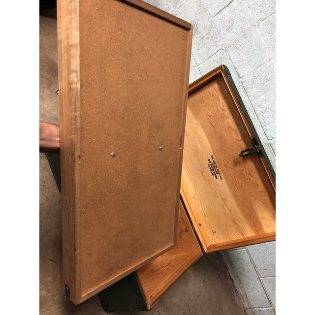Vintage Industrial Green Wood Military Foot Locker Trunk W Tray For Sale - Image 11 of 12