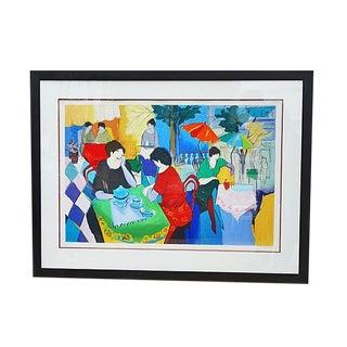 "1980s Vintage ""Cafe Danielle"" Large Serigraph by Itzchak Tarkay For Sale"