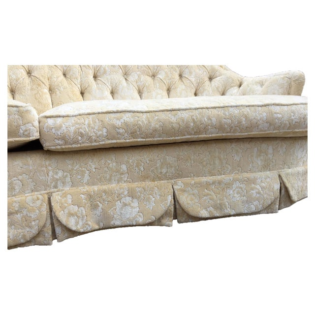 Dorothy Draper Inspired Hollywood Regency Curved Tufted Sofa For Sale - Image 5 of 6