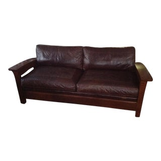 Stickley Brown Leather Sofa For Sale